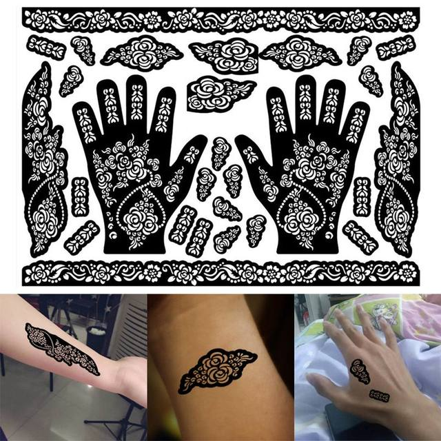 1 Sheet Henna Tattoo Templates Hands Feet Leg Arm Airbrushing Tattooing Professional Temporary Body Painting