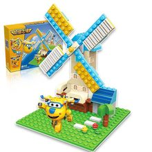 Playmobil hangars scened version Super assembled transform robot Building blocks Mini bricks kids toy gift compatible legoing 45(China)