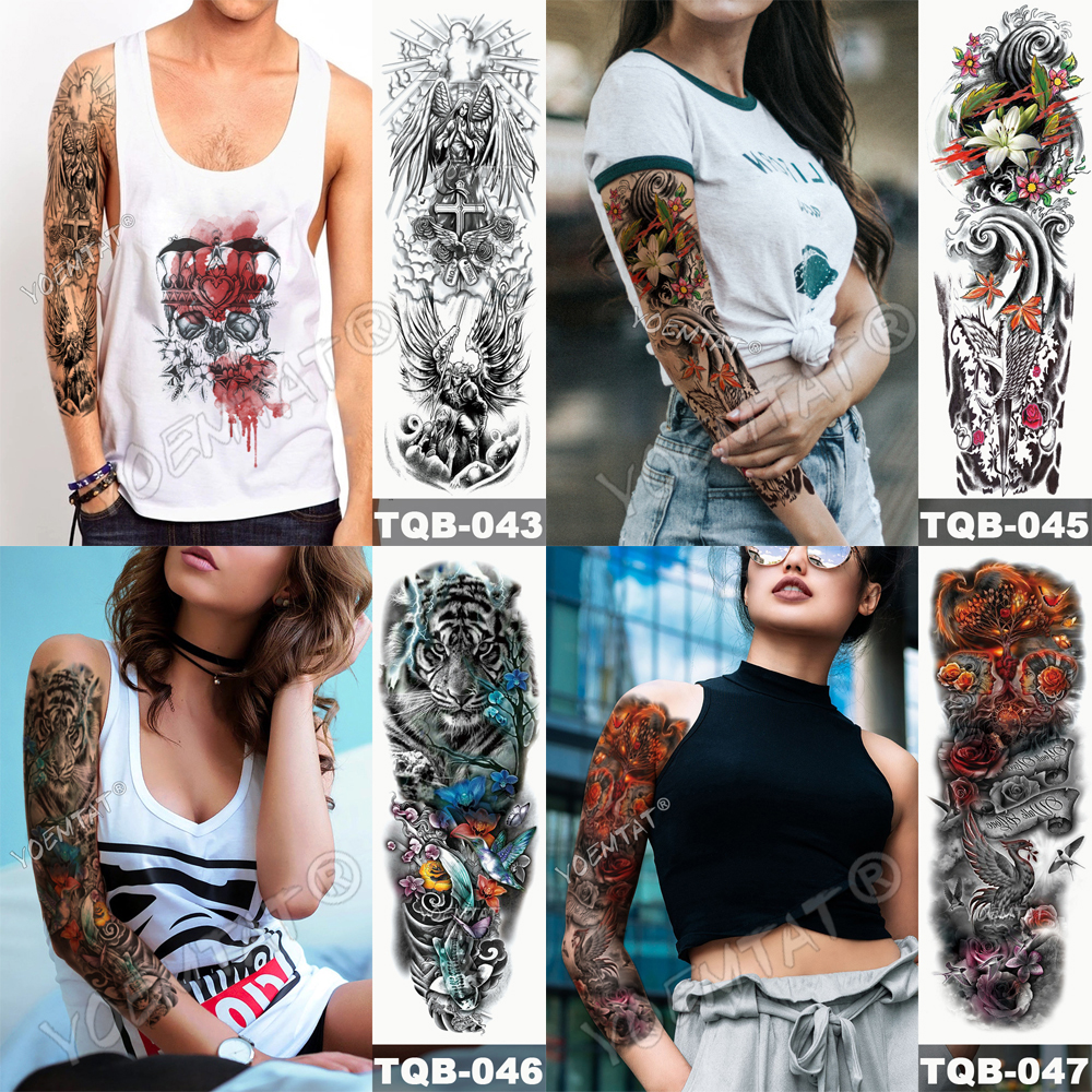 Tatuaje para brazo impermeable cráneo completo 4