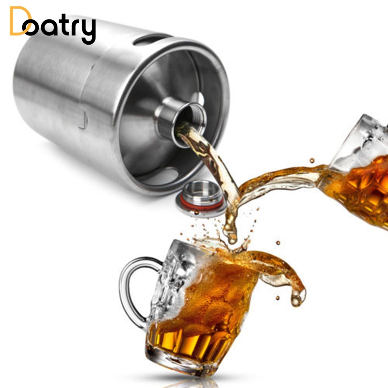 Doatry 2L Homebrew Growler Mini Keg Stainless Steel Keg Style Beer Home Growler Mini Beer Bottle Making Bar Accessories