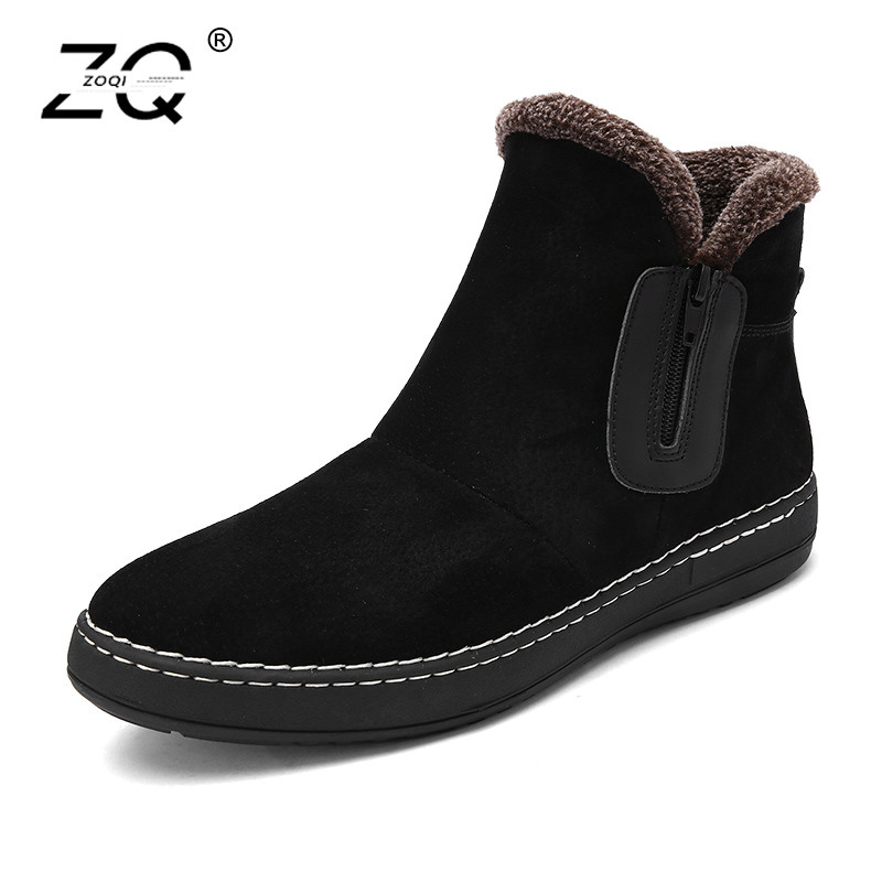 ZOQI Cow Suede Snow Boots Men Sneakers Slip On Keep Warm Winter Boots Men Shoes Side Zipper Leather Ankle Boots Men Botas Hombre zenvbnv winter leather men boots work casual boots men keep warm shoes male rubber snow cow suede leather ankle boots for men