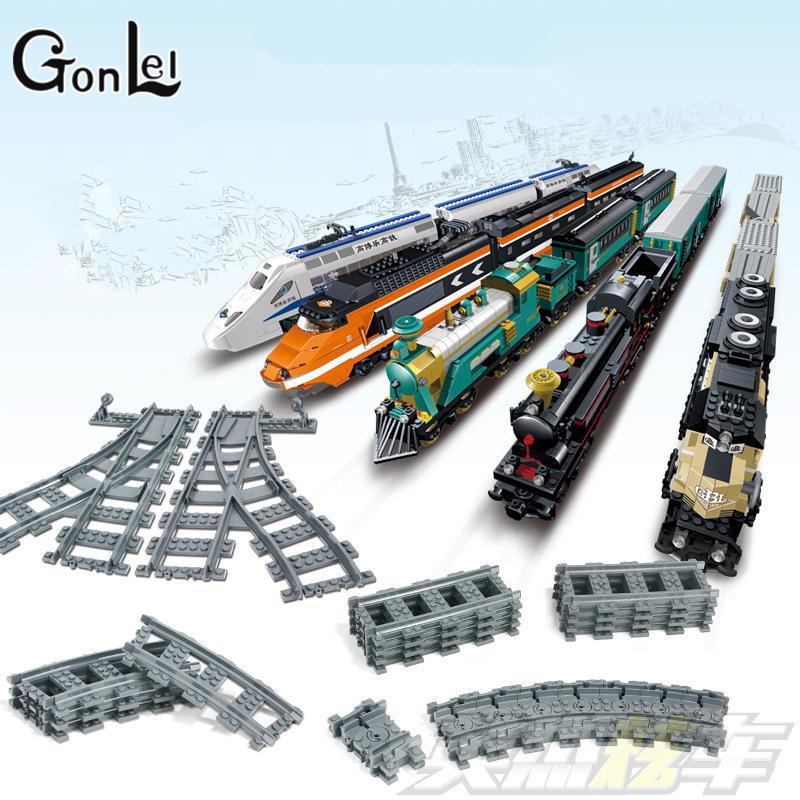 GonLeI Building Blocks Toys for Children Rail Tracks for Train Straight & Curved & furcal & soft Tracks with lepin train singdio train track big building blocks carriage cross straight curved furcal rail kids educational toys compatible with duplo