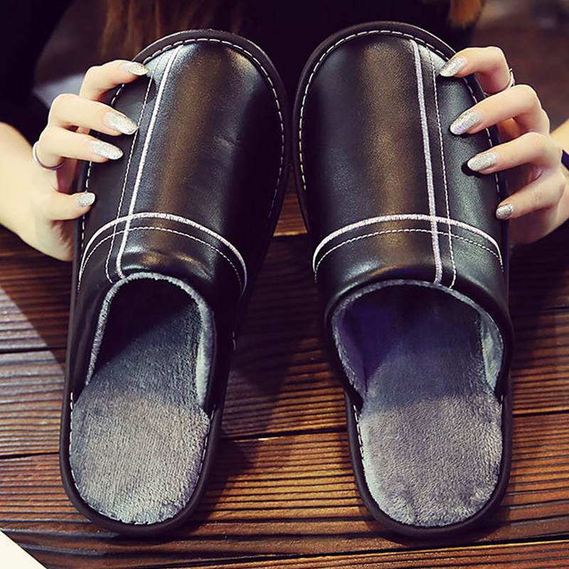 Big Size 45/46 Unisex Slippers Leather Indoor Shoes Men Short Plush Slippers Flat Warm Slippers 2019 New Winter Men Home Shoes