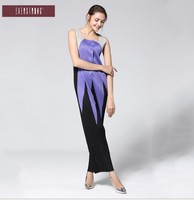 HOT SELLING Miyake fashion fold Sleeveless square collar button patchwork pants jumpsuits IN STOCK
