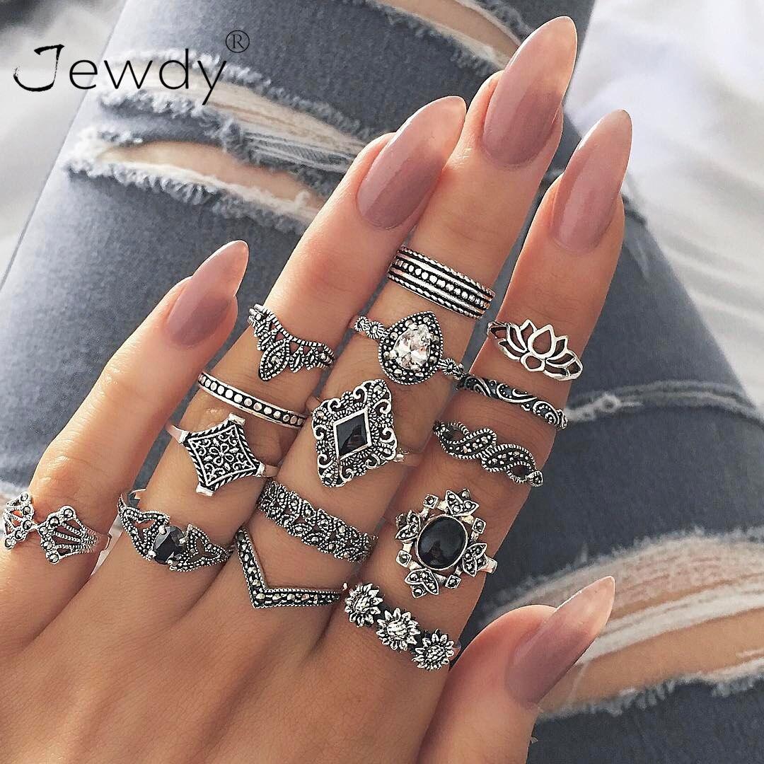 14 PCS//set BOHO Moon /& Sun Knuckle Opal Finger Ring Set Leaf Flower Midi Rings U