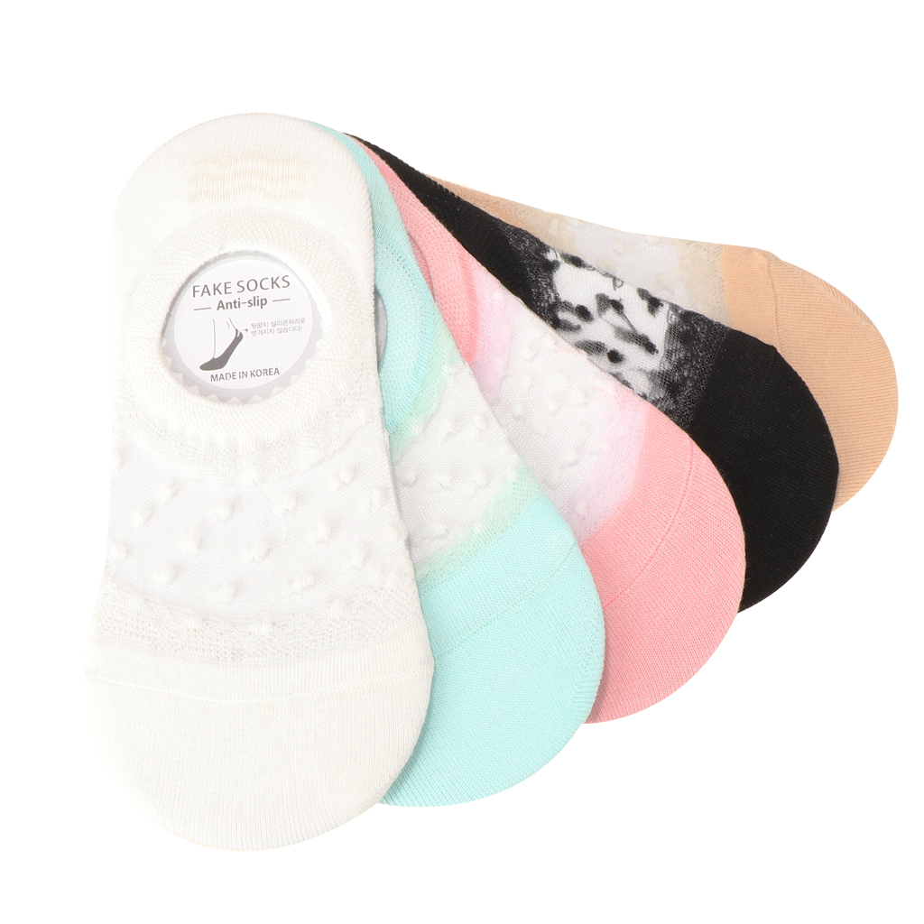5 Pairs Women Girls Cotton Low Cut Socks No-show Boat Socks Non Slip