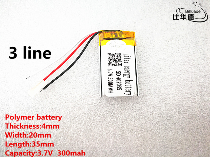 5pcs/lot 3 line Good Qulity 3.7V,300mAH,<font><b>402035</b></font> Polymer lithium ion / Li-ion <font><b>battery</b></font> for TOY,POWER BANK,GPS,mp3,mp4 image
