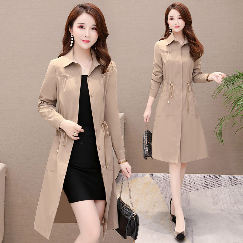 Casual Women Long Trench Coat 2019 New Spring Korean Style Oversize Khaki Windbreaker Female
