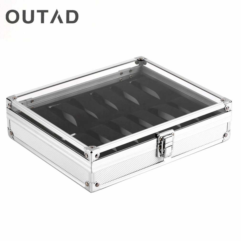 OUTAD 12 Grid Slots Jewelry Watches Display Storage Square Box Case Aluminium Suede Inside Holder Luxury Gift Winder Organizer