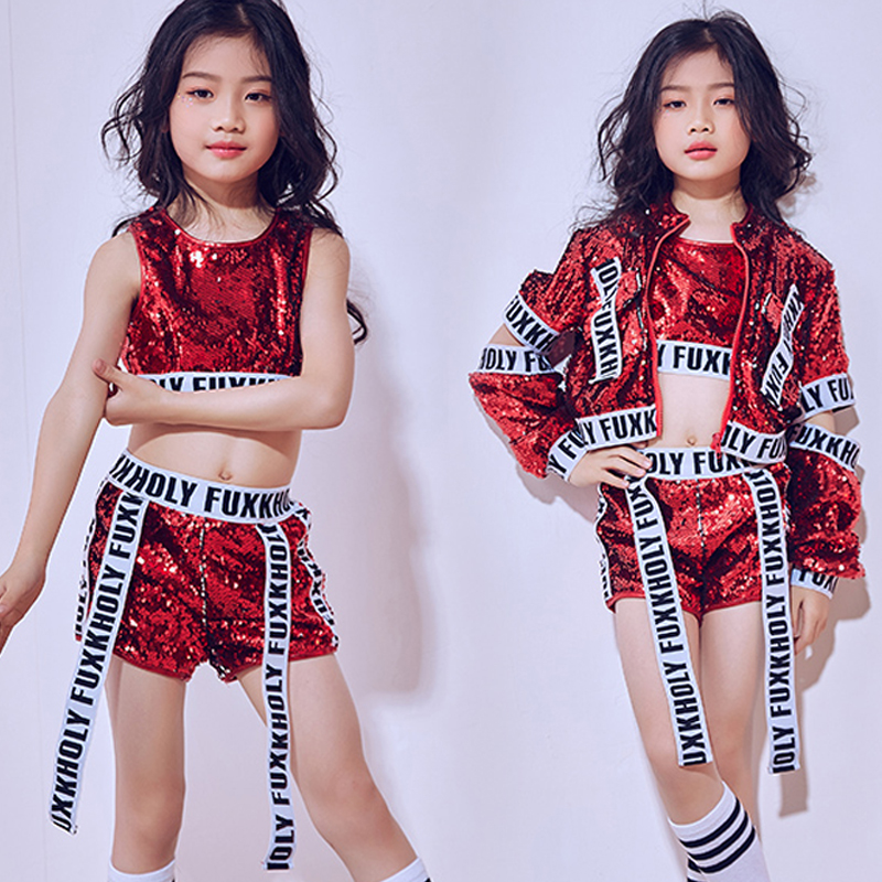 New Hip Hop Dance Costumes Girls Jazz Red Sequin Outfit Vest Shorts Jackets Kids Street Dance Clothing Ballroom Dancewear DN1785