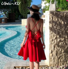 Ubei New beach V-neck dress 2019 super fairy seaside resort small backless sexy dress suspender short holiday chiffon dress 2018 limited real princess s new woman s dress ribbon chiffon bohemia long skirt and seaside resort
