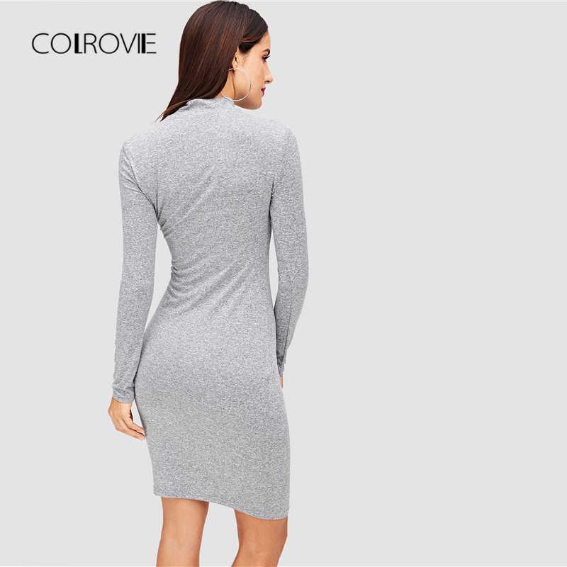 COLROVIE/серое однотонное облегающее трикотажное сексуальное платье для девочек 2018, Осеннее Повседневное платье с длинными рукавами для вечеринок облегающее мини-платье