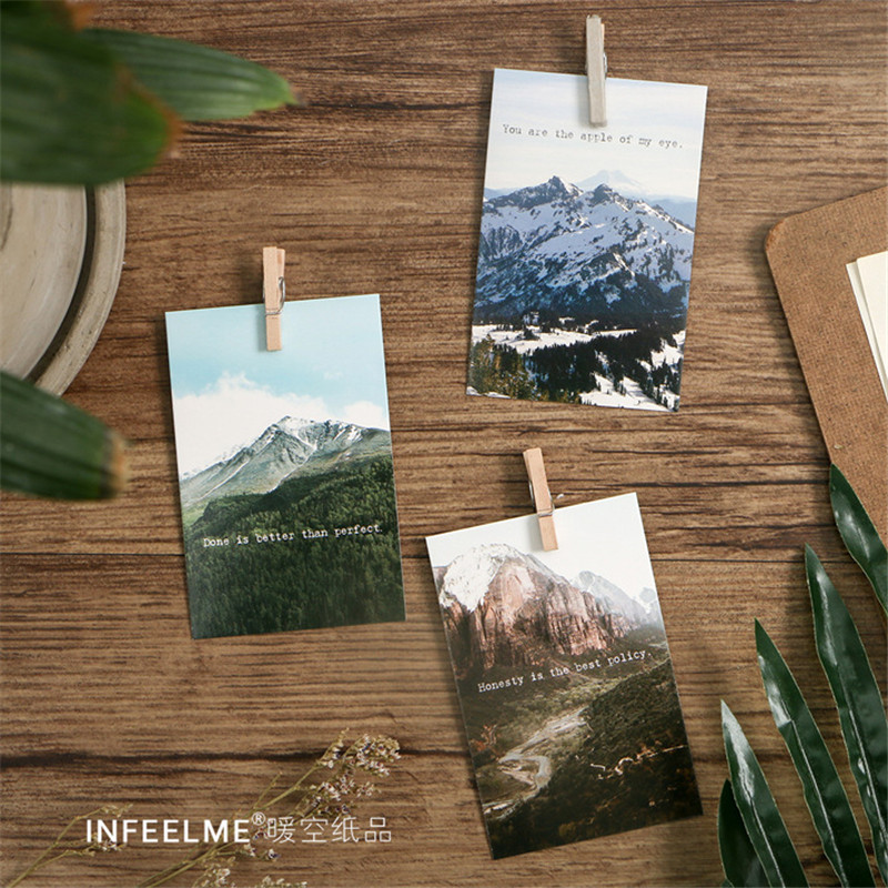 28pcs/pack Beautiful Scenery Print Letter Pads Natures View Lomo Card Creative Greeting Cards Gift Card Student Supplies