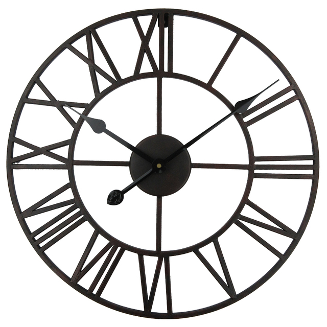 Vintage 76 Cm 50cm Large Wall Clock Wrought Metal