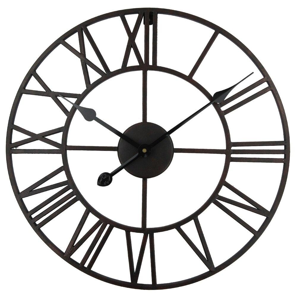 Grosse Horloge Fer Forgé €53.57 31% de réduction|vintage 80cm 50cm grande horloge murale en métal  forgé industriel fer horloge montre saat classique horloges numériques