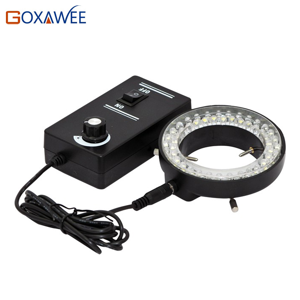 GOXAWEE Adjustable <font><b>LED</b></font> Ring Light Illuminator Lamp For Industry STEREO ZOOM Microscope <font><b>60000LM</b></font> 6500K Microscope <font><b>LED</b></font> Ring image