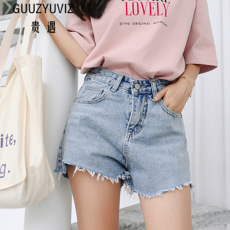 GUUZYUVIZ Hotpant Shorts Femme Casual Loose Vintage Wash Ripped Denim Jeans For Women 2019 Summer Plus Size Shorts Women