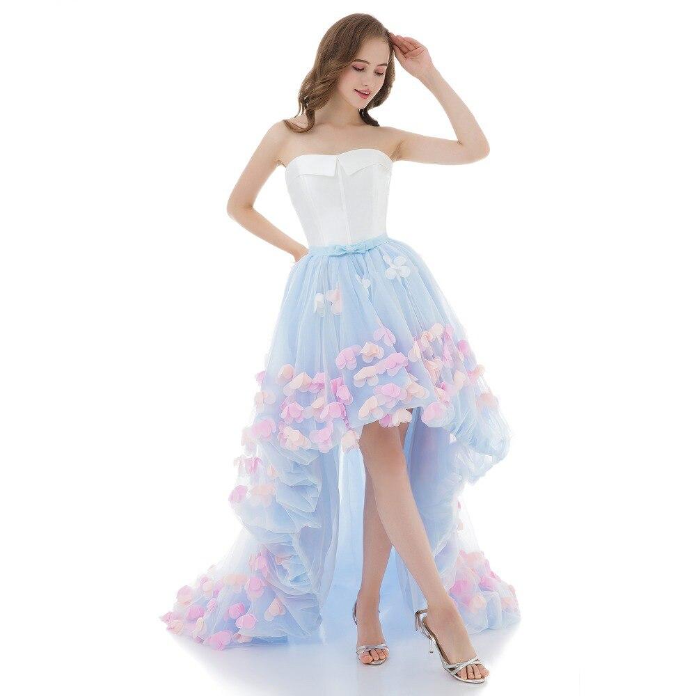 Fancy floral petal formal Evening Dress tulle wedding  graduation Party gown Elegant Vestido De Festa appliques Prom Gowns cocktail dress