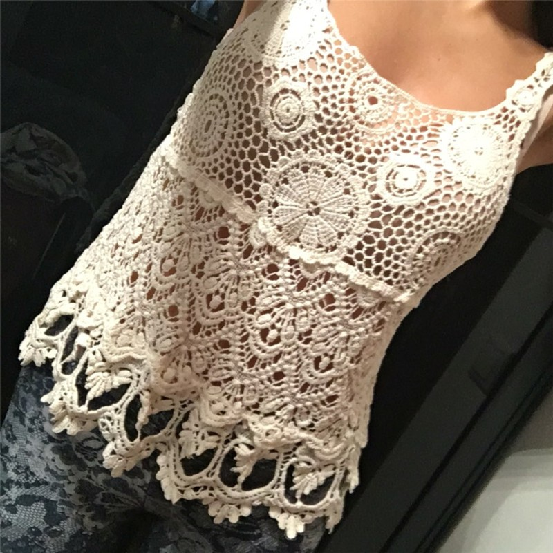 Lace Crop   Top   Cropped Women Crochet   Tank     Top   2017 Sexy T-shirts Women Blusa Hollow Out Lace Tee Shirts Femme Camisole Vest Camis