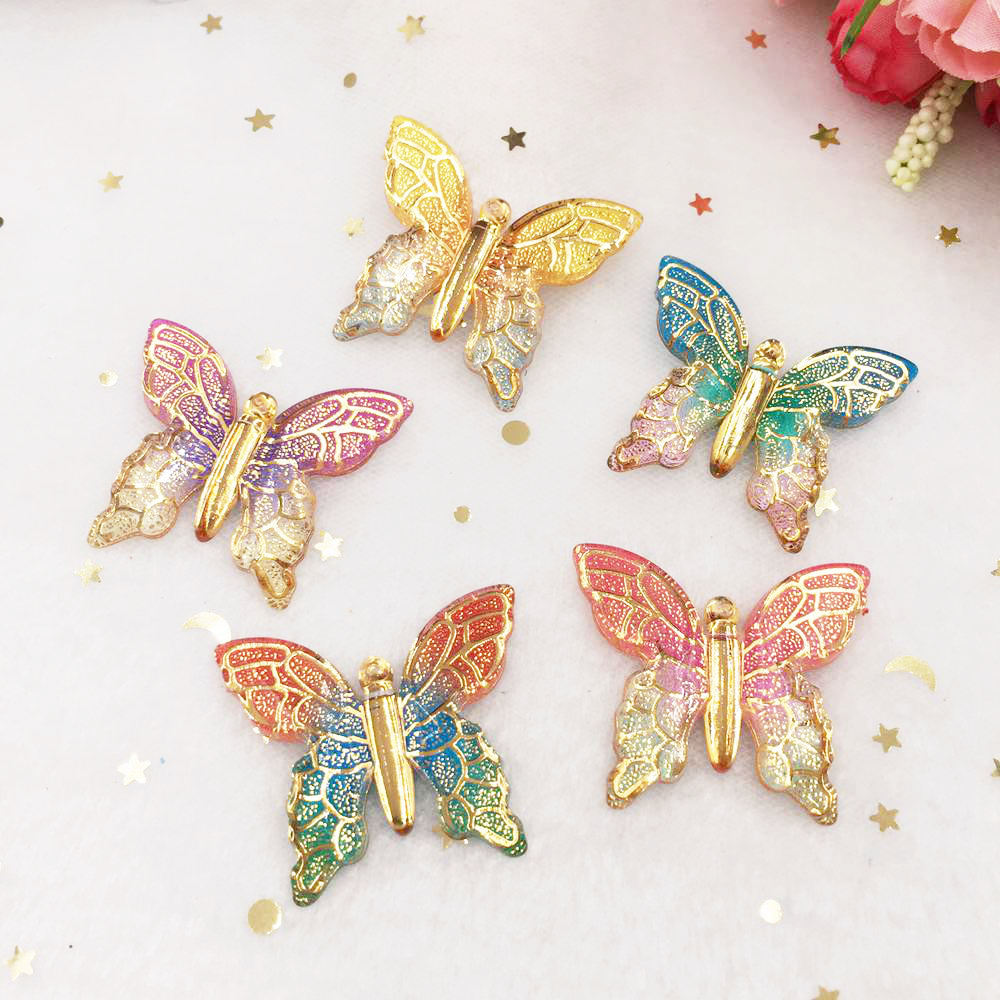 New 10pcs resin Big Colorful butterflies Flat back rhinestone appliques DIY 1 hole Wedding scrapbook Accessories craft SW42 in Rhinestones from Home Garden