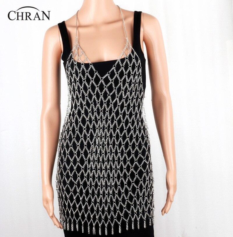 Chran Sexy Fashion Body Mesh Chain Harness Necklace Chain Halter Bra Lingerie Checker Exotic Dress Showgirl Jewelry BJN155615 sequined halter chain dress