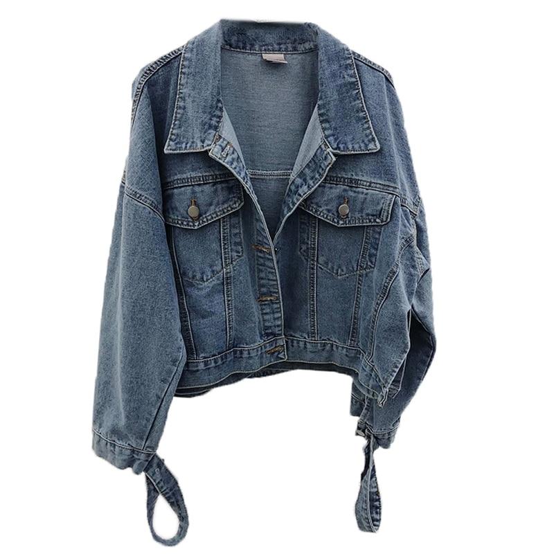 New Blue Long Sleeve Denim   Jacket   Women Harajuku BF Streetwear Coats Loosen   Basic     Jackets   Korea Style Women's Stylish   Jackets