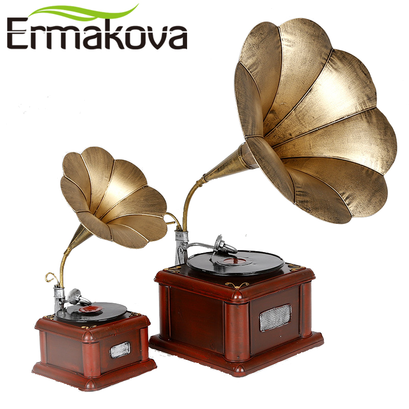 ERMAKOVA Metal Phonograph Retro Model Vintage Record Player Prop Antique Gramophone Model Home Office Club Bar Decor Ornaments