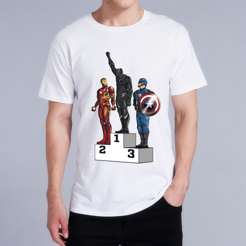 Captain America Black Panther Superhero Justice League Game Shirt Boy Novelty Mens Sleeve T Shirt Tops Fashion Tees