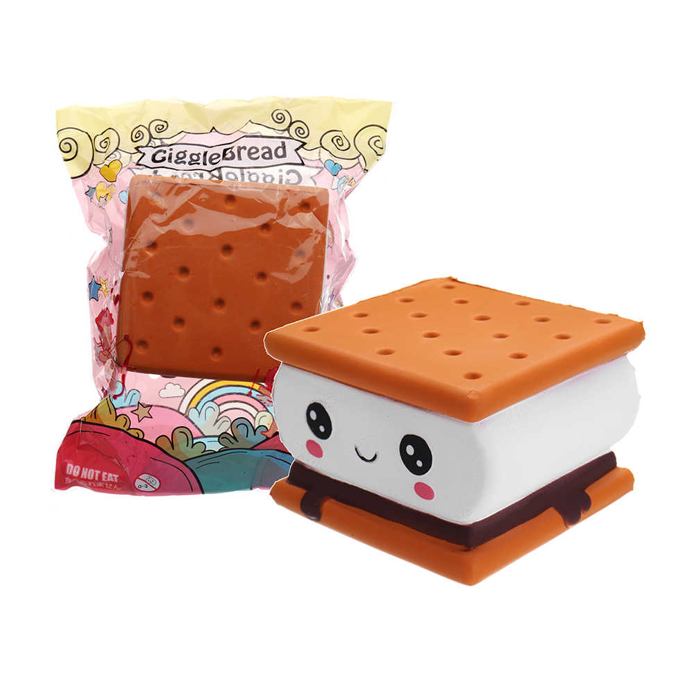 Kawaii cake Biscuit bread for Squishy Slow Rising toy Chocolate Licensed Squeeze toy Jumbo squish toy for kids Gift lanyard