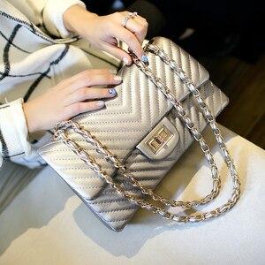 Image 5 - Brand  Female 2020 New Handbags Chevrons Fashion Chain Shoulder Bag Messenger Bag Cover Small Square Package luis vuiton gg bag