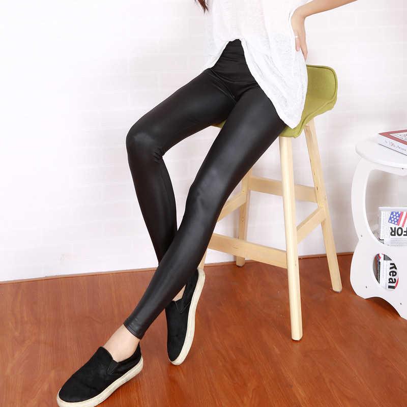 BIVIGAOS olhar as mulheres de couro leggings sexy brilhante olhar molhado legging legins spandex tornozelo calças calças do punk rock gótico mallas