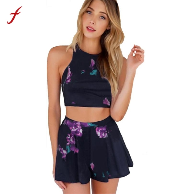 a8f4d2524982b Feitong 2 Piece Set Women Floral Print Crop Top And Shorts Set Backless  Sexy Women Summer Sets Vetement Femme