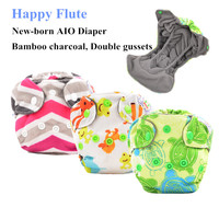 Happy Flute Newborn Diapers Tiny AIO Cloth Diaper Bamboo Charcoal Double Gussets Inner Waterproof PUL Outer
