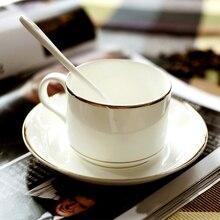 Authentischer Bone China Europäischen Stil Eingelegten Gold Bone China Kaffeetasse Klassische Einfache Untertasse Löffel Kaffee Sets Für Freund Geschenk