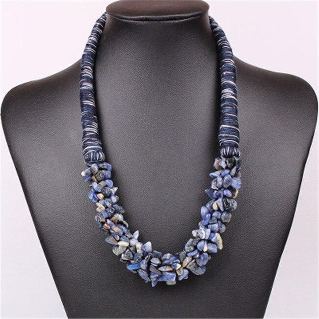 6ccab1b129a2 Joyería Tribal India DIY Piedra Natural colgante collar moda declaración  babero cadena collar joyería para niñas mujer regalo