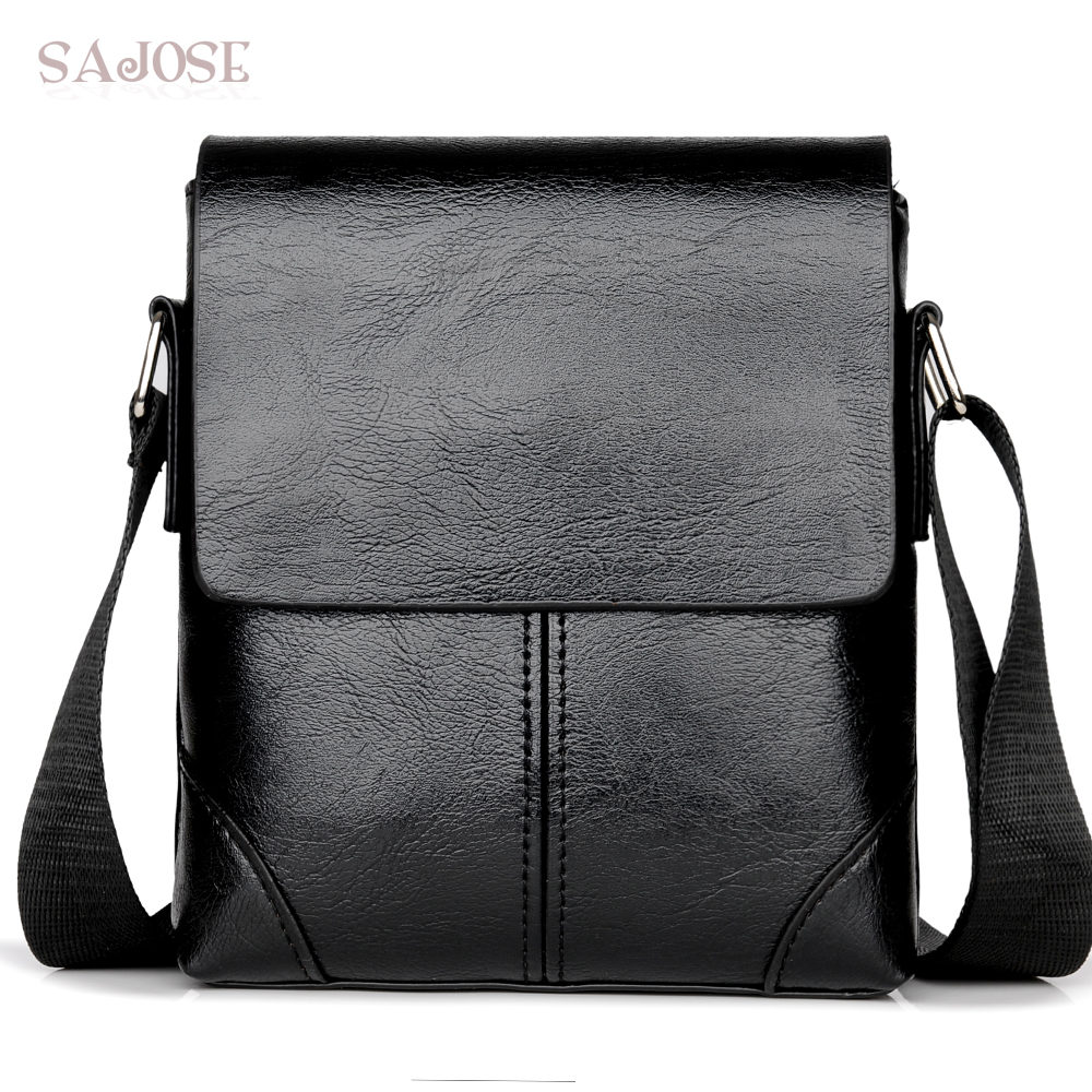 sajose Crossbody Bag Leather Shoulder Bag Casual Black