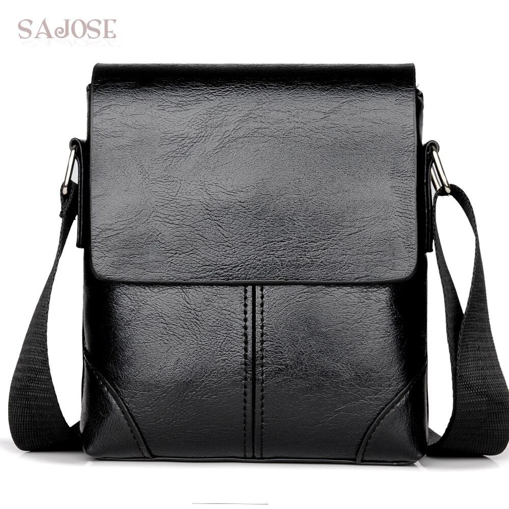 c47b25e9ed94 Мужская сумка через плечо модная кожаная сумка на плечо повседневная черная деловая  мужская сумка для телефона