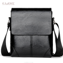 Men Crossbody Bag Fashion Leather Shoulder Bag Casual Black