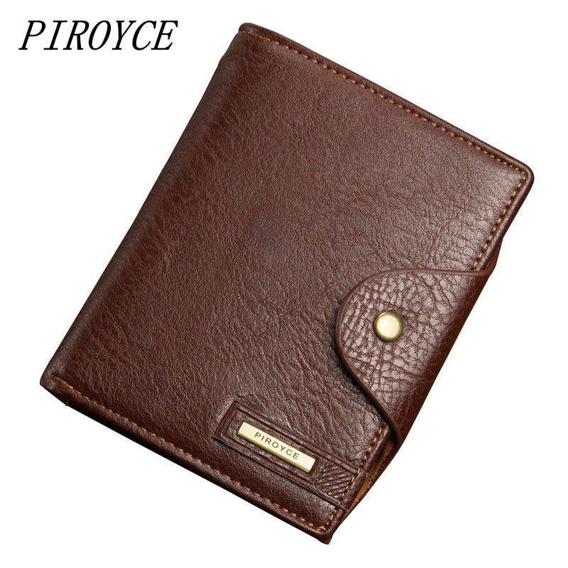 PIROYCE Mens Passport Wallet Best Leather High Capacity Men Wallets High Quality New Fashion Man  Coin Purse Card Holder Bags