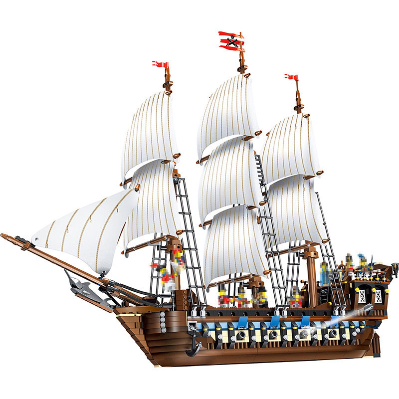 LELE Pirates of the Caribbean Imperial battleship Compatible LegoINGlys Ship Classic Building Blocks Construction Toys 1779pcs 1717pcs new 22001 pirates of the caribbean imperial flagship diy model building blocks big toys compatible with lego