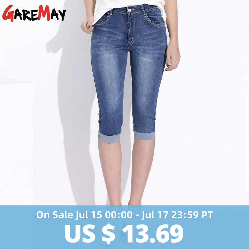 GAREMAY Plus Size Skinny Capris Female Stretch Knee Length With High Waist