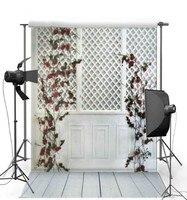 Fiore rosso Foglie Bianco Porta In Legno sfondi Vinile tessuto di Alta qualità di Stampa Del Computer wedding photo scenografia