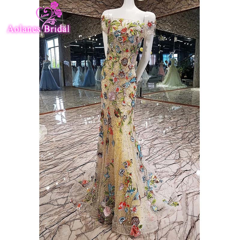 AOLANES 2017 New Long Evening Dresses Mermaid Sequins Prom Dress Floor Length Lace Crystal Beaded Formal Evening Gowns Dresses