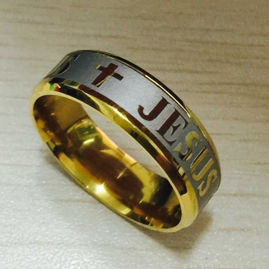 High Quality Large Size 8mm Titanium Steel Silver Jesus Cross Letter Bible Wedding Band Ring Men Women