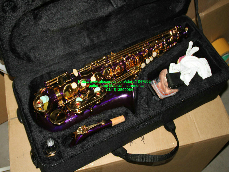 Wholesale New Arrival Purple Alto font b Saxophone b font With Case Free Shipping HOT