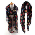 NEW Cute Colorful Owl Print Scarf For Women-Black