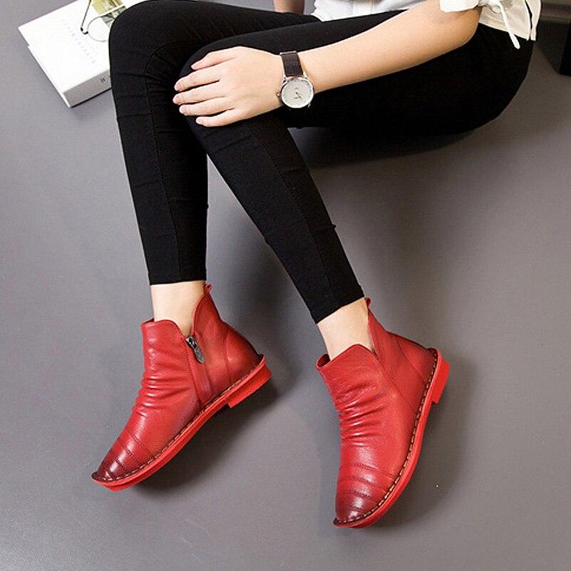 grey Planos Zhenbaili Primavera Black Otoño 2017 Ocasionales Plisado brown Botas Moda Zapatos Cremallera Cuero Botines Auténtico Suave red Mujeres 7trw7qna