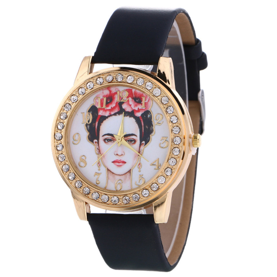 New Arrive Dress Women Watches Stylish Crystal Rhinestones Quartz Wristwatch Lady Bracelet Relogio Casual Leather Watch
