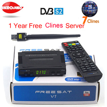 Satellite TV Receiver decoder Freesat V7 HD DVB-S2 +USB Wifi with 7 lines Europe Clines C-Clines support full powervu Newcamd