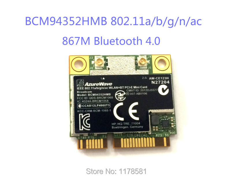 AW-CE123H BCM4352 BCM94352HMB Half Mini PCIe PCI-express Wireless WIFI WLAN BT Bluetooth Card 802.11AC 867Mhz For SPS 724935-001